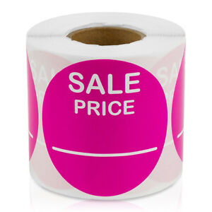 Sale Price 2 Round Pricing Retail Store Stickers tags Label dark Pink 10 Rolls