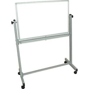 Luxor Double Sided Magnetic White Board 36 X 24 With Stand Silver Frame