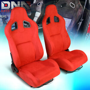Pair Red Fully Reclinable Suede Sport Spec Racing Seats W universal Sliders