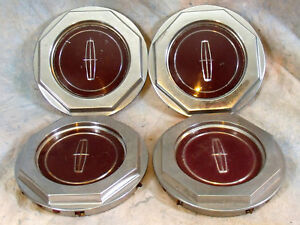Four Used Oem Chrome Burgendy Center Caps Lincoln Wire Wheel