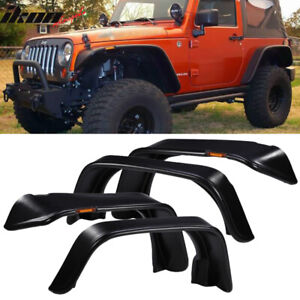 Fits 07 17 Jeep Wrangler Jk Flat Texture Fender Flares W Side Marker Lights