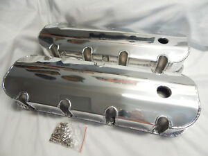 Polished Aluminum Bbc Fabricated Sheetmetal Tall Valve Covers Billet Rail 6248
