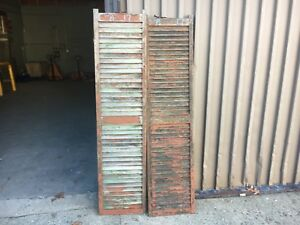Pair Victorian Louvered House Window Shutters Worn Paint Surface 71 H X 17 W
