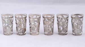 Vintage Lhm Glass Sterling Silver Overlay Shot Glass Set Of 6 Mexico 925
