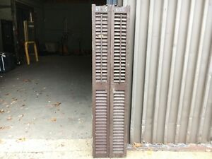 Pair Victorian Louvered House Window Shutters Worn Paint Surface 69 5 H X 8 25 W