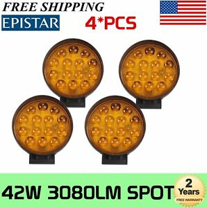 4x 42w Amber 14leds Work Light Fog Spot Beam Atv Suv Jeep Lamp Round 5d Optical