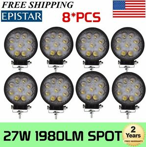 8x 4inch 27w Spot Round Led Work Light Offroad Fog Driving Suv Truck 5d Optical