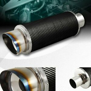 4 N1 Slant Burnt Tip 2 5 Inlet Stainless Carbon Fiber Racing Exhaust Muffler