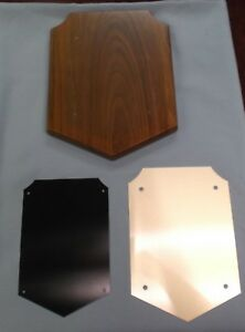 Lot Of 5 Trophy Parts 8x10 Black Laser Plate Plaque Solid American Walnut P475