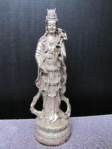 Vintage Chinese Kuanyin Chrome Finish Bronze Metal Statue