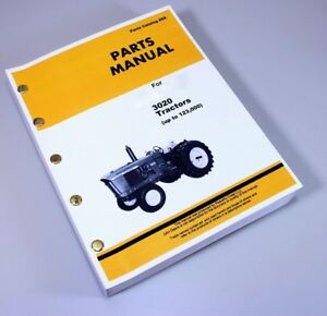 Parts Manual For John Deere 3020 To 123 000 Tractor Catalog Exploded Assembly