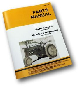 Parts Manual For John Deere A Ar Ao An Aw Anh Series Unstyled Tractor Catalog