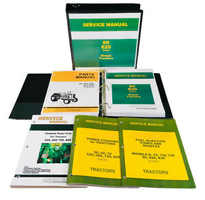 Service Manual Set John Deere 80 820 830 Diesel Tractor Parts Catalog Powr Trol