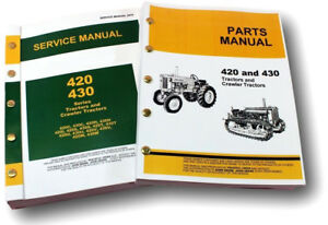 Service Manual Set For John Deere 420 420c Crawler Dozer Parts Catalog Repair