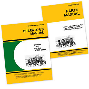 Operators Parts Manuals For John Deere Ag200 Series Planters Bedders Owners