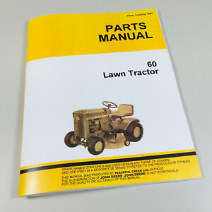 Parts Manual For John Deere 60 Lawn Tractor Garden Mower Catalog All Years