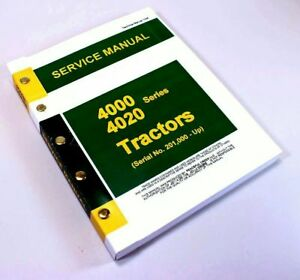 Service Manual For John Deere 4020 4000 Tractor Technical Service Repair