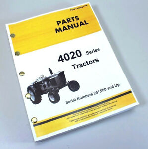 Parts Manual For John Deere 4020 4000 Tractor Catalog Assembly Serial 201 000 Up