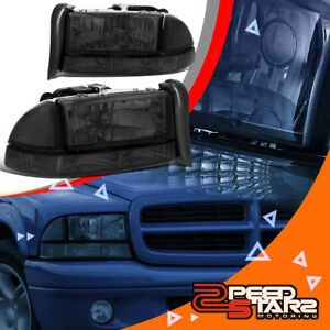 Smoke Style Clear Corner Signal Headlight Lamps For 97 04 Dakota durango Pickup