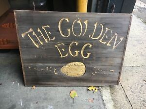 C1960 70 Wooden Double Sided The Golden Egg Sign Hand Carved 36 X 27 Thrift Shop