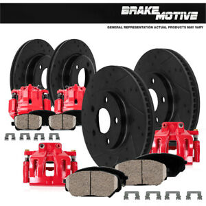 Front And Rear Red Calipers Rotors Pads For 2002 2003 2004 2005 G35 Nissan 350z
