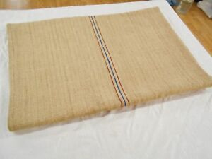 Perfect Vtg Antique Red Blue Stripe European Hemp Linen Feedsack Grain Bag 21x53