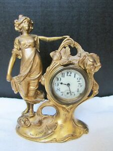 Antique Art Nouveau Spelter Girl Statue Mantel Clock Lady Figurine Clock