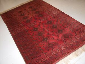 Old Afghan Village Rug With Turkmen Chuval Gul Design Plum Red Colour C 1920