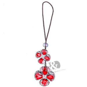 Red Clover Suncatcher Car Rearview Mirror Ornament Hanging Crystal Lucky Gifts