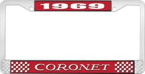 1969 Coronet License Plate Frame Red And Chrome With White Lettering