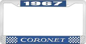 1967 Coronet License Plate Frame Blue And Chrome With White Lettering