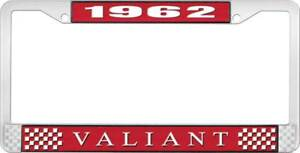 1962 Valiant License Plate Frame Red And Chrome With White Lettering