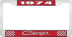1974 Charger License Plate Frame Red And Chrome With White Lettering