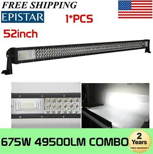 7d Tri Row 52inch 675w Curved Led Light Bar Combo Offroad 4wd Truck Atv Ute Slim