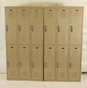 Set Of 12 Metal Double Stack Vintage Lockers Interior Steel Equipment Co Beige