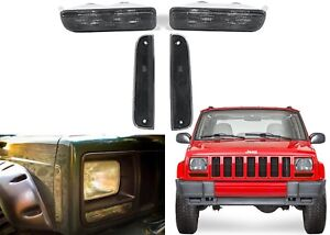 4pc Smoked Front Marker Light Set For 1997 2001 Jeep Cherokee Xj New Free Ship