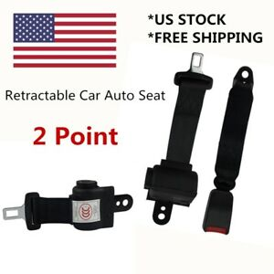 Universal Black 2 Point Car Seat Belt Safety Strap Buckle Adjustable Retractable