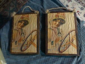 Vintage COCA COLA Wood Decoupage 70's-1900's PRINT Sign Wall Hanging Set Of 2