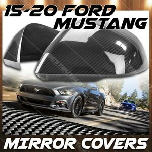 For 2015 18 Ford Mustang Gloss Black Carbon Fiber Side Mirror Cover Trim Overlay