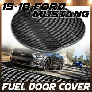 For 2015 2018 Ford Mustang Gloss Carbon Fiber Gas Fuel Door Cover Overlay Trim