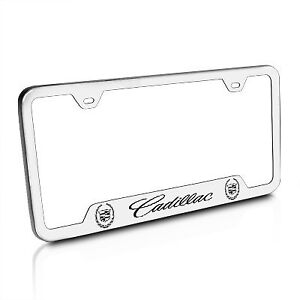 Cadillac Brushed Stainless Steel Auto License Plate Frame