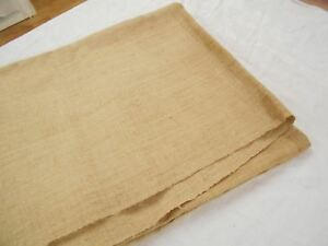 Vtg Antique Hemp Linen Beige Grain Sack Bag Fabric Sheet Blanket Quilt 77x55