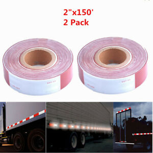 2x Dot c2 Reflective Conspicuity Tape 2 x150 Safety Trailer Truck White red