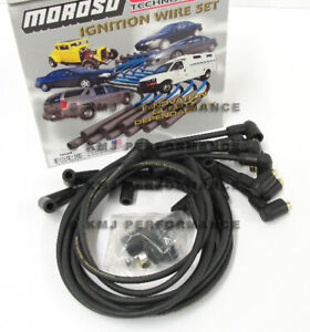 Moroso 9865m Black Sbc Small Block Chevy Spark Plug Wires Socket 90 Deg Under