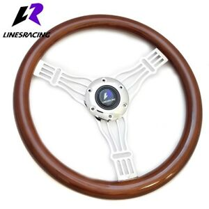 350mm 6 Hole Classic Wood Grain Chrome 3 spoke Steering Wheel horn For Buick