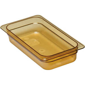 Cambro 1 3 Gn Steam Table Pans High Heat Plastic 2 5 Deep 6pk Amber 32hp 150
