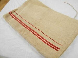 Vtg Antique Red Stripe European Hemp Linen French Feed Sack Grain Bag 20x53