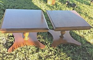 Pair Vintage Maple Square Low Lamp End Tables Nightstands Wood Wooden