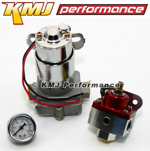 High Flow Electric Fuel Pump 130gph Universal W Red Regulator Pressure Gauge