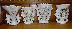 4 Antique Old Paris Porcelain Vases Dirty Dusty Some Issues